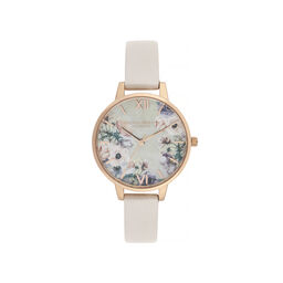 Olivia Burton Watercolour Florals Demi Dial Watch with Nude Mother-Of-Pearl