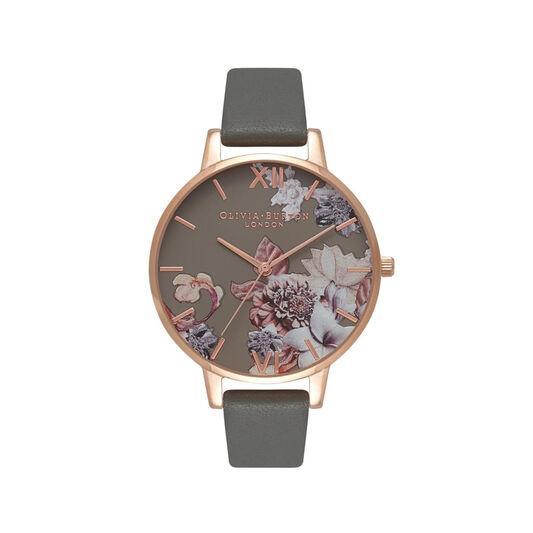 Olivia Burton Marble Floral Dark Grey & Rose Gold Watch