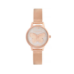 Olivia Burton 3D Butterfly Gold Mesh Watch