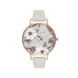 Olivia Burton Bejewelled Floral Grey And Rose Gold