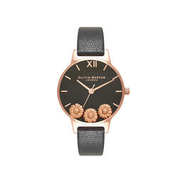 Olivia Burton Dancing Daisy Black & Rose Gold Watch