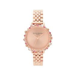 Olivia Burton Limited Edition Bejewelled Case Watch, Rose Gold Bracelet