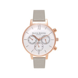 Olivia Burton Chrono Detail Grey, Rose Gold & Silver Watch