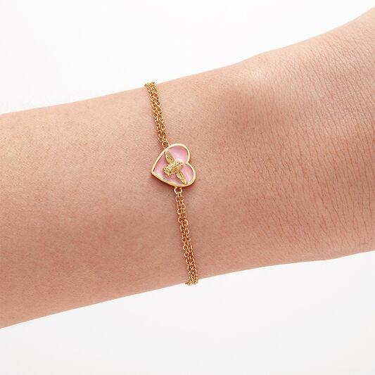 Olivia Burton Love Bug Chain Bracelet Pink & Gold