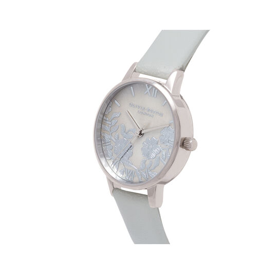 Olivia Burton Lace Detail Mother of Pearl Grey & Silver Watch