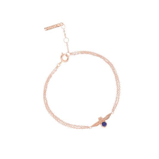 Olivia Burton 3D Bee Bejewelled Chain Bracelet Rose Gold with Lapis Lazuli Gemstone