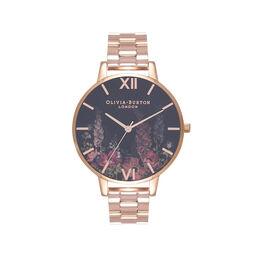 Olivia Burton Dark Bouquet Rose Gold Bracelet Watch