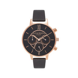 Olivia Burton Chrono Detail Dot Design Black And Rose Gold Watch