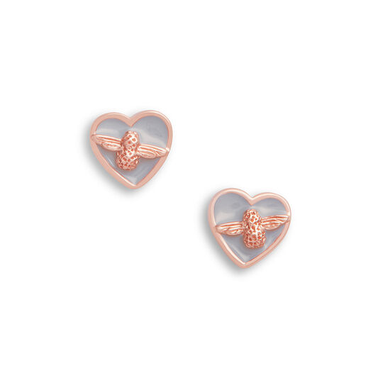 Olivia Burton Love Bug Studs Grey & Rose Gold