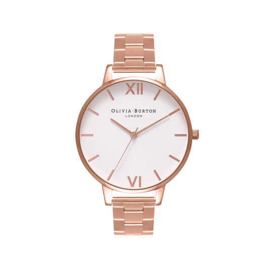 Olivia Burton White Dial Bracelet Rose Gold Watch