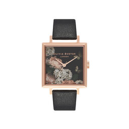 Olivia Burton Signature Floral Big Square Dial Black & Rose Gold Watch