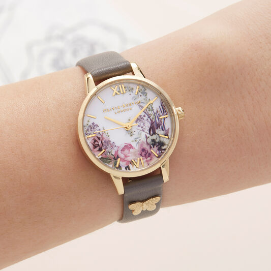 Olivia Burton Enchanted Garden London Grey & Gold Watch