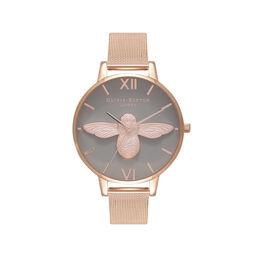 3D Bee Rose Gold Mesh Watch