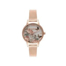 Olivia Burton Midi Signature Floral Rose Gold Mesh Watch