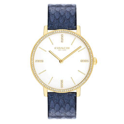 Coach Ladies Audrey Navy Calfskin Watch