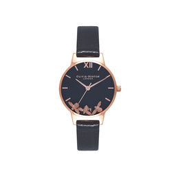 Olivia Burton Busy Bee Black & Rose Gold Watch
