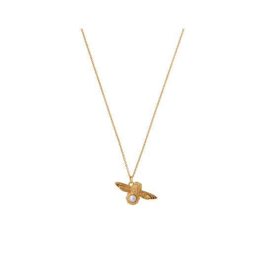 Olivia Burton Pearl Bee Pendant Necklace Gold