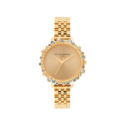 Olivia Burton Limited Edition Bejewelled Case Watch, Gold Bracelet