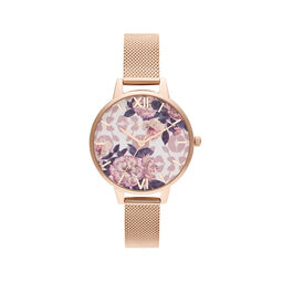 Olivia Burton Wildflower Pale Rose Gold Mesh