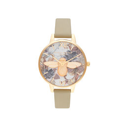 Olivia Burton Marble Florals 3D Bee Gold Watch