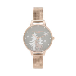 Olivia Burton Winter Wonderland Pale Rose Gold Mesh